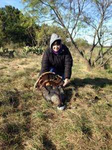 11/21/15 - Tori Denison with her first turkey from this past weekend near Brownwood